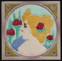 Art Nouveau tile with face of a lady
