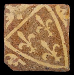 Medieval floor tile from Artois region, France.