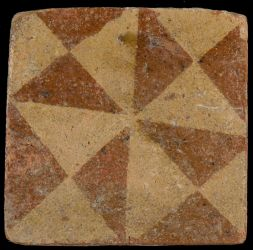 Medieval floortile with geometric decoration