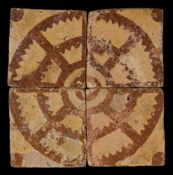 Four late medieval floor tiles